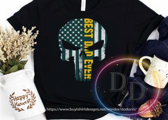 Best Dad Ever punisher skull America USA Flag print ready t shirt design