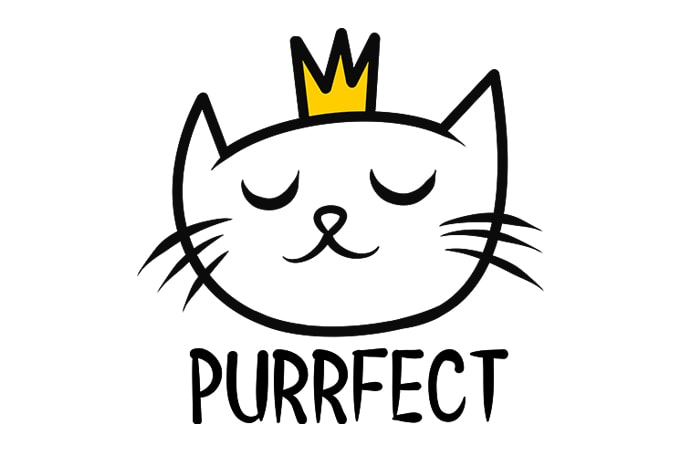 cat funny Purrfect t shirt design for purchase