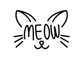 Cat Funny Meow shirt design png graphic t-shirt design