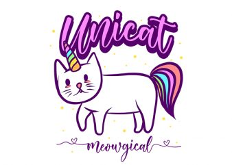 Cat Funny Unicat Meowgical, Unicorn Parody t shirt design for sale