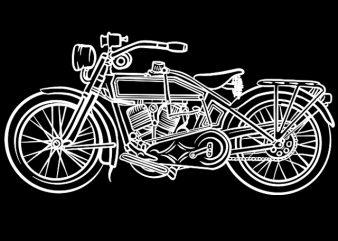 Vintage Motorcycle line art print ready t shirt design