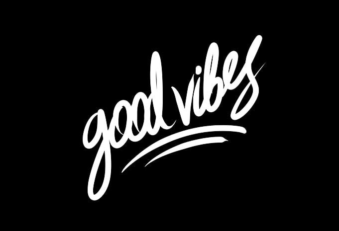good vibes hand lettering print ready t shirt design