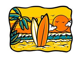 Surf Summer Holiday artwork graphic t-shirt design