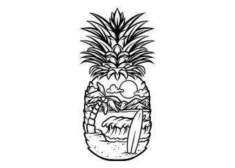 pineapple surf summer print ready t shirt design