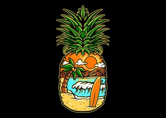 Pineapple Surf Summer design for t shirt t shirt design for download