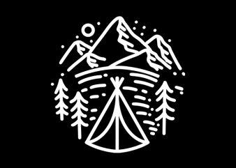Camping Mountain Line art monoline t shirt design to buy
