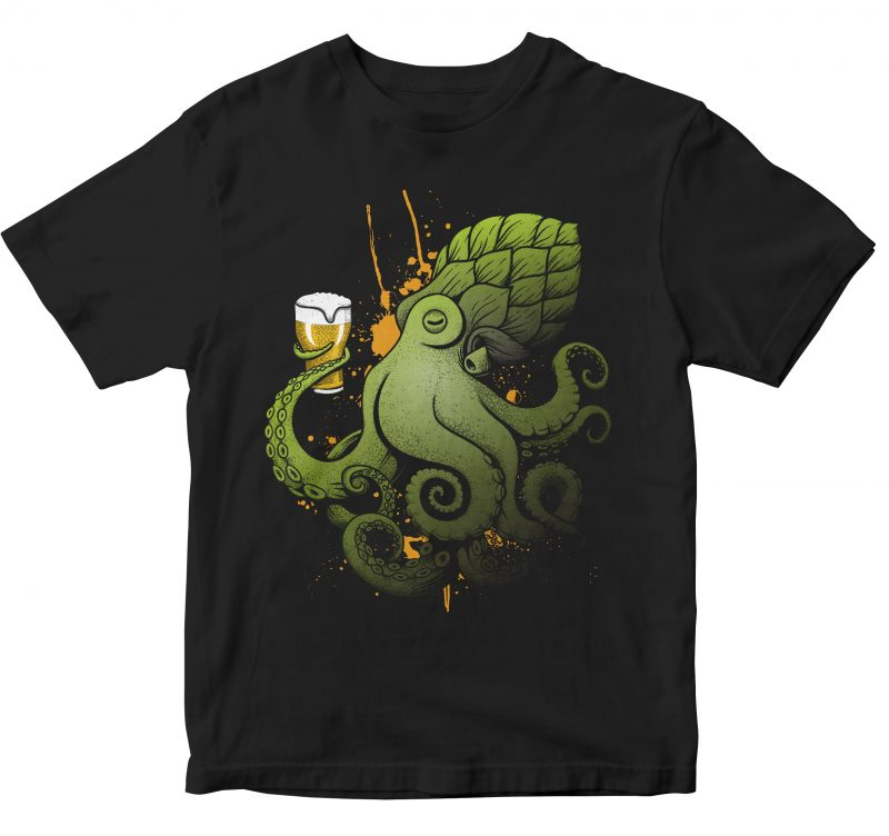 LET'S DRINK BEER FUNNY OCTOPUS graphic t-shirt design