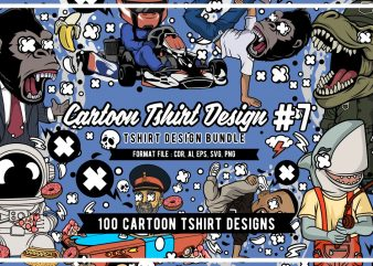 100 Tshirt Designs Bundle Cartoon Concept #7