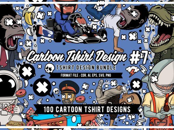 100 Tshirt Designs Bundle Cartoon Concept #7