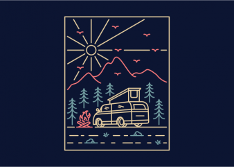 Camper 2 t-shirt design for commercial use