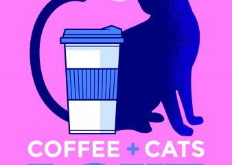 Coffee And Cat Love print ready t shirt design