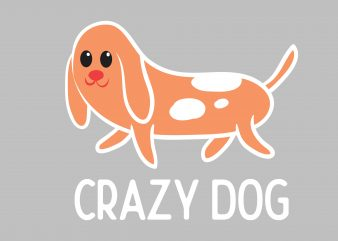 Crazy Dog t shirt design for sale