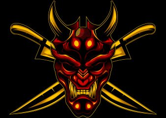Devil Ronin and Cross sword vector illustration commercial use t-shirt design