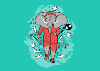 Elephant Jogging graphic t-shirt design