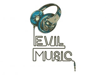 Evil Music Headphone svg,Evil Music Headphone,Evil Music Headphone png,Evil Music Headphone design T-Shirt Design for Commercial Use