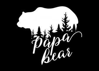 Papa Bear T-Shirt Design for Commercial Use