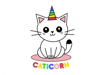 Caticorn, Unicorn, Cat Unicorn, T-Shirt Design for Commercial Use