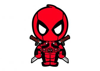 Deadpool The Super Hero, Deadpool Cartoon T-Shirt Design for Commercial Use