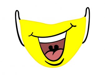 Smiley Face Mask T-Shirt Design for Commercial Use