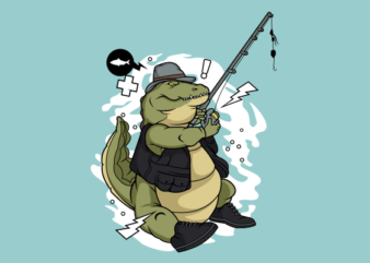 Fishing crocodile ready made tshirt design
