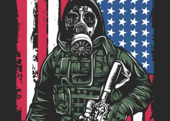 Gas Mask Soldier 02 t shirt design for download