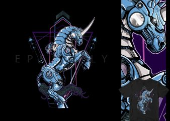 HORSE MECHA, VEGASUS STEAMPUNK commercial use t-shirt design