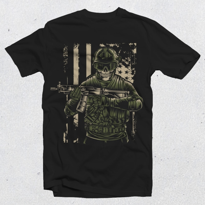 Military Skull 02 commercial use t-shirt design