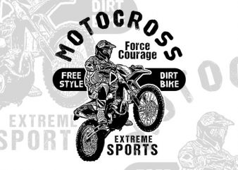 Motocross Force Courage t-shirt design for sale