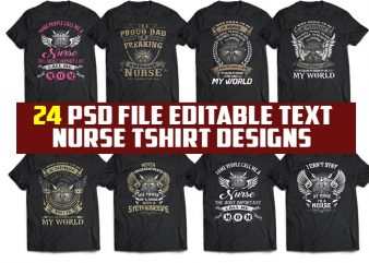 24 tshirt designs bundle Nurse Corona virus stay at home psd file editable text and layer t shirt bundles
