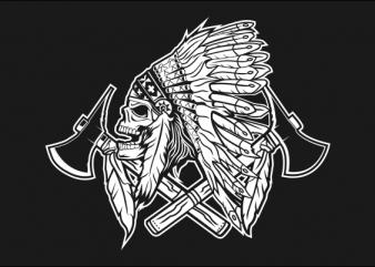 SKULL INDIAN NATIVE BLACK AND WHITE t-shirt design for sale