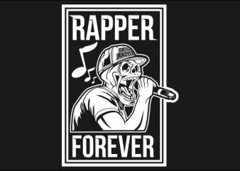 SKULL RAPPER BLACK AND WHITE buy t shirt design for commercial use