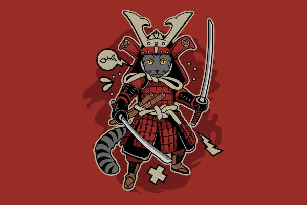 Samurai Cat t shirt design template