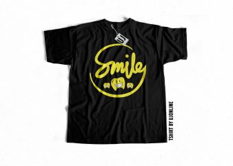 Smiley typography buy t shirt design for commercial use
