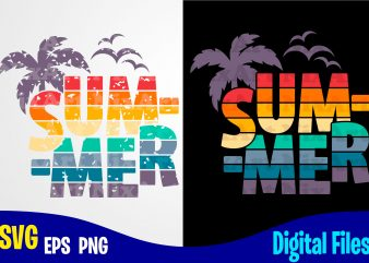 Summer, Summer svg, palm, retro, distressed, vintage, grunge, Funny Summer design svg eps, png files for cutting machines and print t shirt designs for sale t-shirt design png