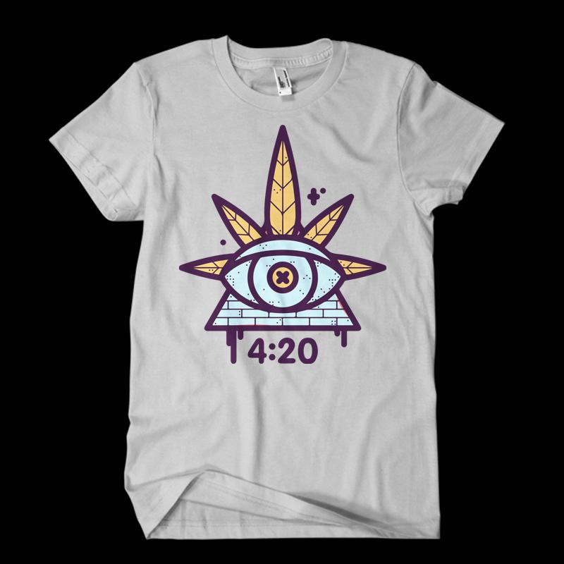 weed cartoon t shirt design template