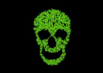 weed skull t shirt design template