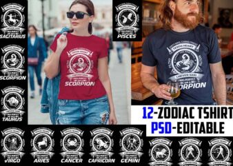 12 zodiac birtday White Color tshirt design completed psd file editable text and layer ZODIAC#3