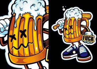 Beer Gangsta print ready t shirt design