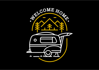 Welcome Home graphic t-shirt design