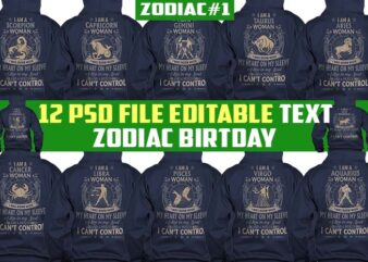 bundle 12 zodiac birtday tshirt design completed psd file editable text and layer