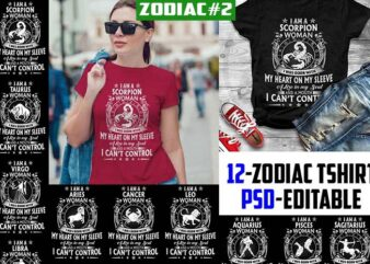 12 zodiac birtday White Version tshirt design completed psd file editable text and layer ZODIAC#2