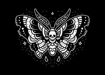 skull butterfly graphic t-shirt design