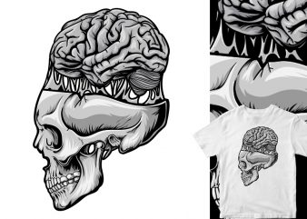 skull brain out, cartoon vector t shirt design for sale