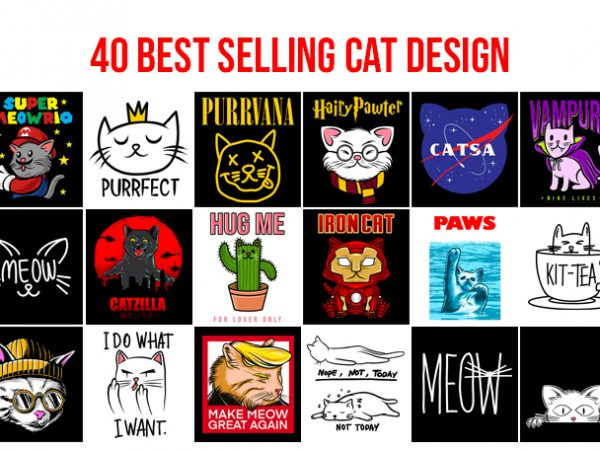 40 Best Selling Cat Design Bundle AI, EPS, SVG, PNG