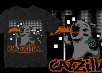 catzilla print ready t shirt design