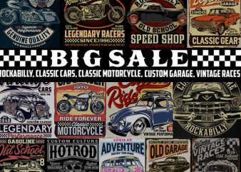 """BIG SALE "" Rockabilly, vintage race & Custom Garage t shirt design for purchase"