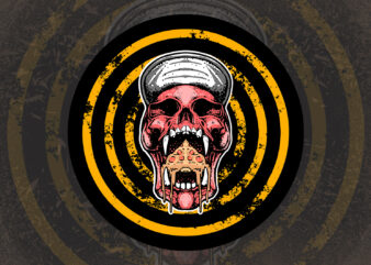 skull pizza t-shirt design