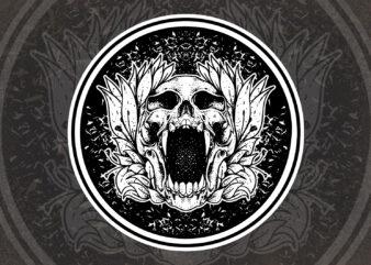 skull flower t-shirt design