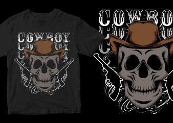 cowboy skull shirt design png