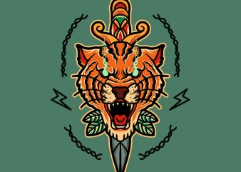 tiger and dagger graphic t-shirt design